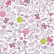 Seamless pattern with cute romantic elements — Imagens vectoriais em stock