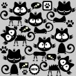 Black funny kitty stickers collection - Stock Vector