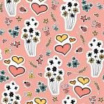 Cute pink seamless pattern design — Stock Vector