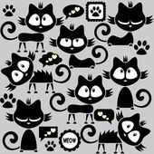 Black funny kitty stickers collection — Stock Vector