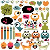 Cute scrapbook elements animals images — Stock Vector