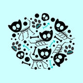 Illustration with funny cat skeletons — Stock Vector