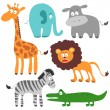 Funny African animals - Stok Vektr