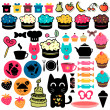 Cakes and food elements set - Stock Vector