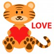 Romantic illustration of cute little tiger in love — Stock Vector
