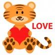 Romantic illustration of cute little tiger in love — Stock Vector