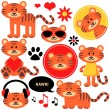 Stock Vector: Set of cute funny tiger cubs