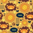 Sunny seamless pattern with cute lions - Stock Vector