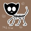 Illustration of a funny cat skeleton - Stock Vector