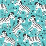 Childish seamless pattern wtih cute zebras — Stock Vector