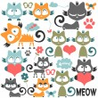 Set of cute kitty illustrations — Stock Vector