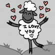 Card with cute lamb in love - Stock Vector