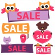 Various sale signs with cute animals — Stock Vector