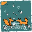 Cute illustration of two cute foxes in the meadow — Stock Vector