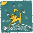 Cute illustration of funny kitty in the meadow — Stock Vector