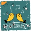 Cute illustration of two cute birds singing songs — Stock Vector