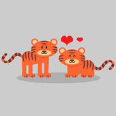 Couple of cute tigers in love — Stock Vector