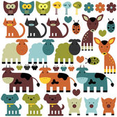 Set of funny various colorful animals — Stock Vector