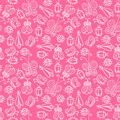 Seamless pattern with various insects — Stock Vector