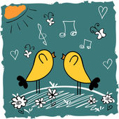 Cute illustration of two cute birds singing songs — Stock vektor