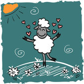 Cute illustration with lamb in love — Stock Vector