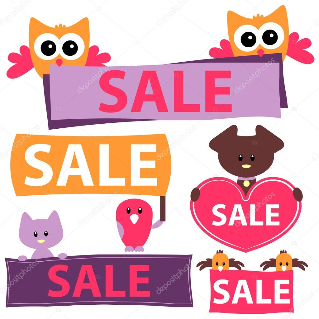 Various sale signs with cute animals stock vector 169 littlepaw
