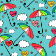Cute seamless pattern with colorful umbrellas — Stock Vector