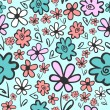 Seamless pattern with cute flowers — Stock Vector