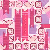 Girl diary cute feminine seamless pattern — Stock Vector
