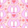 Cute pink seamless pattern with kittens — Stock Vector