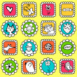 Cute colorful stamps with various drawings — Stock Vector