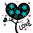 Beautiful love tree — Stockvectorbeeld