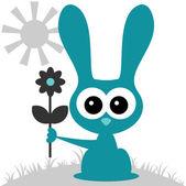Cute bunny holding a flower — Stock Vector
