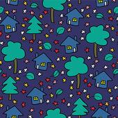Night village cute seamless pattern — Stock Vector