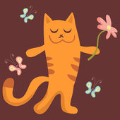 Cute kitty holding a flower — Stock Vector