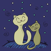 Two cats under the night sky — Stock Vector