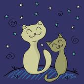 Twee katten onder de nachtelijke hemel — Stockvector