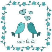 Two cute birds in love — Stock Vector