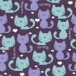 Cute blue seamless pattern with cats — Stock Vector