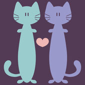 Two cute funny cats in love — Stok Vektör
