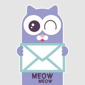 Cute cat holding a letter — Stock Vector