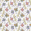 Childish seamless pattern with butterflies and flowers - Stok Vektör