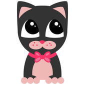 Cute little kitty with pink bow — Stock Vector
