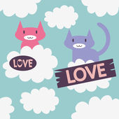 δύο χαριτωμένα γάτες στην αγάπη στα σύννεφα — Διανυσματικό Αρχείο