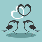 Two cute birds in love — Stock Vector