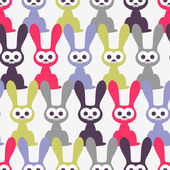 Seamless pattern with funny rabbits — ストックベクタ
