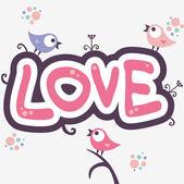 Romantic illustration with cute little birds — Stock Vector