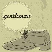 Gentleman's shoes vintage card design — Stock Vector