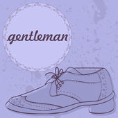Gentleman's shoes vintage card design — Stock Vector
