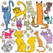 Set of cute hand drawn cats — Stock Vector